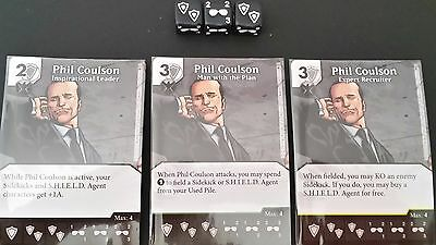 Dice Masters - Age of Ultron - Phil Coulson C/UC/R cards + dice