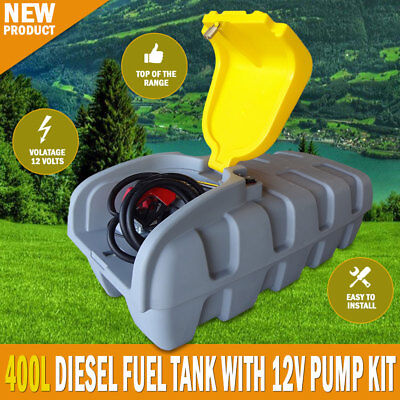 NEW Xtreme 400 Litre Diesel Fuel Tank With 12/24v 70lpm Pump Kit, Lockable Lid
