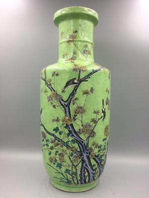 Chinese antique Kangxi Period pale green famille verte rouleau vase Qing Dynasty