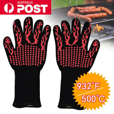 932°F/500°C Oven/BBQ Grilling Gloves Premium Insulated Silicone Gloves Kitchen