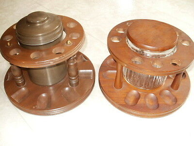 Lot of 2 Vintage Rotating Lazy Susan Walnut Pipe Racks, Each Rack Holds 9 Pipes