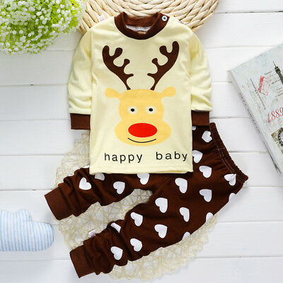 Children baby clothes two piece set tops+pants thermal underwear cartoon printed