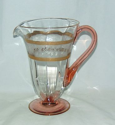 "Morgantown BARRY #37 BRAMBLE ROSE CRYSTAL w/PINK *8"" PITCHER*"