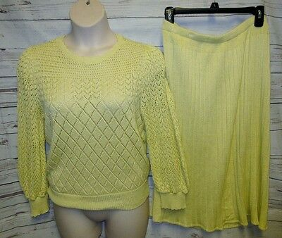 VTG Laura 16 Skirt Top Outfit Set 2 Pc Yellow Knit Crocheted Sheer Sweater 1x
