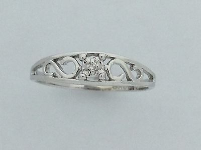 Natural Diamond Ring For Baby Solid 10kt White Gold
