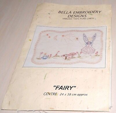 Fairy Moon Stars Linen Stamped Traced Printed Crewel Embroidery Panel Doily New