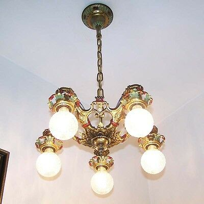 203b Vintage 20s 30s Ceiling Light  aRT Nouveau Poly-chrome Chandelier