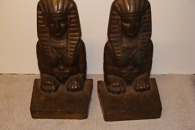 Antique Bookends Cast Iron Bronze Finish Old Egyptian Revival Sphinx Pair Set