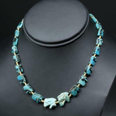 Necklace with 24 Egyptian Faience Eye of Horus Amulets Lot 1D