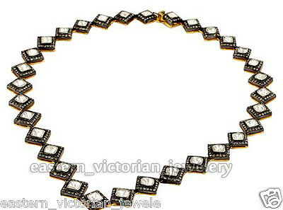 Vintage  11.84Ct Natural Rose Antique Cut Diamond Jewelry Silver String Necklace