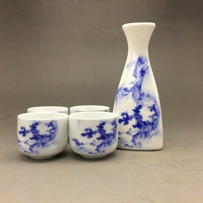 Chinese blue and white porcelain cup & four ceramic cup by hand painting4.17tc37