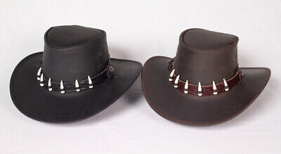 Brown and Black Kangaroo leather hat ON SALE great western outback cowboy style