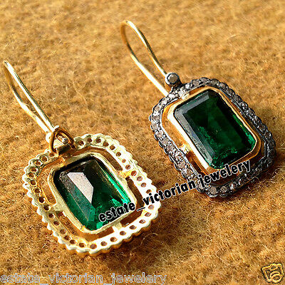 Retro Vintage 1.06Cts Rose Cut Diamond Emerald Sterling Silver Earring Jewelry