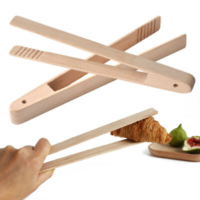 Bamboo Wood Food BBQ Salad Toast Tongs Cake Pastry Tea Clip Clamp Kitchen Tool