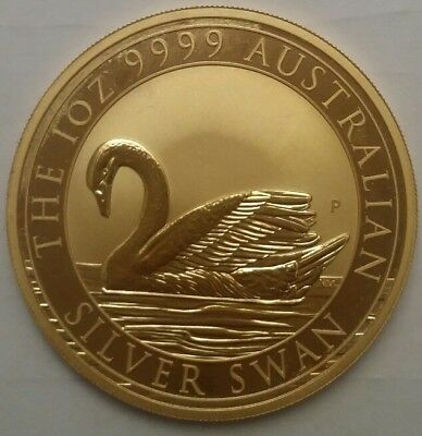 24k Gilded 2017 Perth Mint Australia Silver Swan 1 oz .9999 Silver Coin. Golden