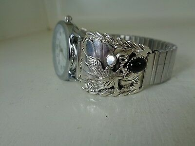 Eagle Watch Tips .925 Sterling With Watch & Black Onyx Stone By Running Bear