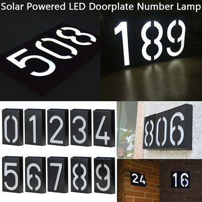 Outdoor Solar Powered LED Doorplate Mailbox Number 0-9 Light House Address Lamp