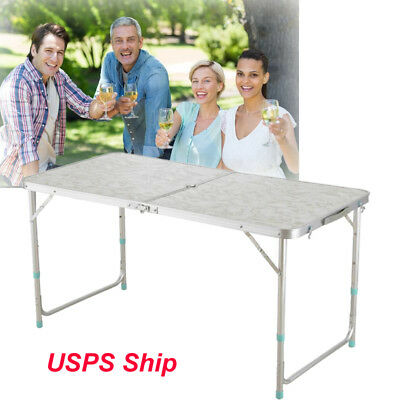 【USA】Folding Table 4' Portable Plastic Indoor Outdoor Picnic Party Camp Tables