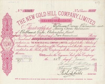 New Gold Hill Company Limited Stock Certificate June 15th 1890 North Carolina