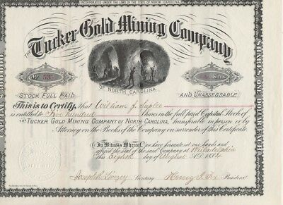Tucker Gold Mining Company Stock Certificate 1884 Cabarrus Co North Carolina