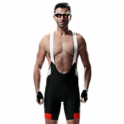 SANTIC Cycling Bib Shorts Men's Bike Cycling Bibs Pants Black White Size S-3XL