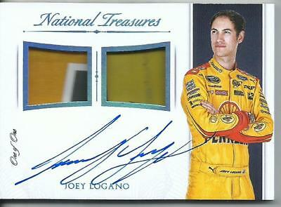 2016 Playoff National Treasures Joey Logano Auto Autograph Dual Logo Patch 1/1