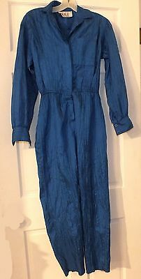 Vintage Blue Nylon Jumpsuit Small Petite Women's Pantsuit Retro Wrinkled Nylon