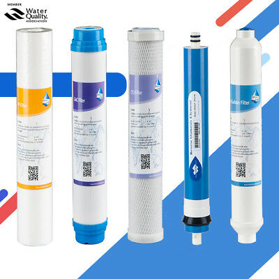 5 Stage Reverse Osmosis Replacement Filter kit PP/GAC/CTO/T33/50GPD Membrane NEW