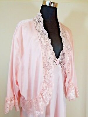 VTG 80s SHADOWLINE LONG FULL SWEEP NIGHT GOWN & BED JACKET POWDER PINK 2X