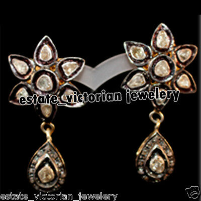 Vintage Estate 2.12cts Rose Antique Cut Diamond Sterling Silver Jewelry Earring