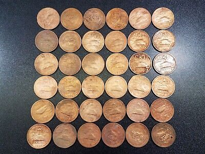 1940s-1960s Lot of 36 Low Grade Old Mexico Coins - 20 Centavos #F1036