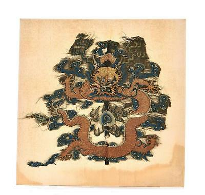 18C Chinese Imperial Silk Embroidery Dragon from Kesi Kossu Robe Panel Textile