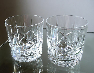 Pair Excellent Quality Cut Glass Shorter Whisky Tumblers    #