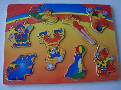 Vintage Colorful Wooden Tray Puzzle - Circus Theme - Elephant, Clowns, Etc.
