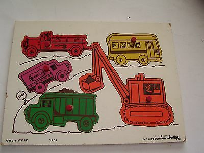 1977 Wood Tray Puzzle By The Judy Company - Work Vehicles - Bus, Truck, Etc.