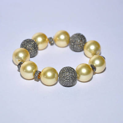 Vintage Style Real South Sea Pearls With 1.99 ct Natural Diamond Bracelet