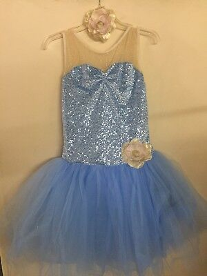 WEISSMAN Women's Ballet Tutu Dance Costume Blue Gold Adult LARGE *EUC