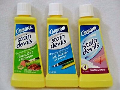 Lot of 3 THREE NEW CARBONA STAIN DEVILS Stain Removers #3, #4 & #6 Variety