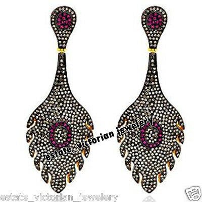 Estate Vintage 7.22Ct Pave Rose Cut Diamond Sterling Silver Jewelry Ruby Earring