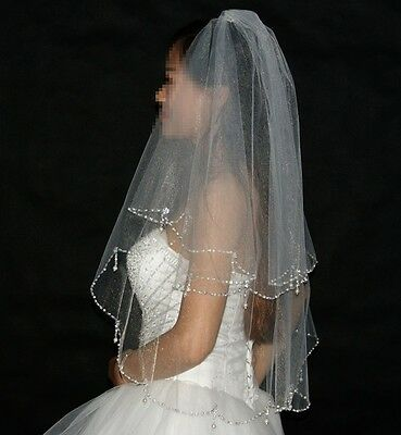 Two Layers Crystal Beaded Wedding Veils with Comb High Quality Short Bridal Veil