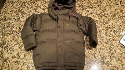 Polo Ralph Lauren Down Puffer Coat Olive Green Jacket Boy's size 5