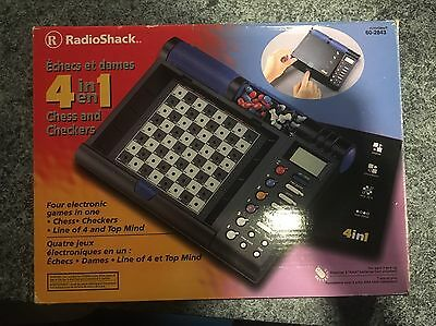 Radio Shack 4 In 1 Chess And Checkers Computer 60-2843 Line of 4 Top Mind