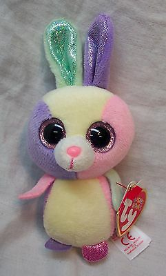 """TY Basket Beanies BLOOM THE COLORFUL BUNNY 5"""" Plush Stuffed Animal 2015 NEW"""