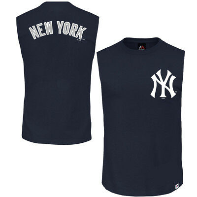 New York Yankees Majestic MLB Walt Sleeveless Muscle T-Shirt - Navy