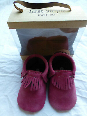 First Steps Baby Toddler Fringe Pink Moccasins Size 2 New