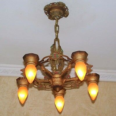933 Vintage 20s 30s art nouveau Ceiling Light Lamp Fixture Chandelier iron