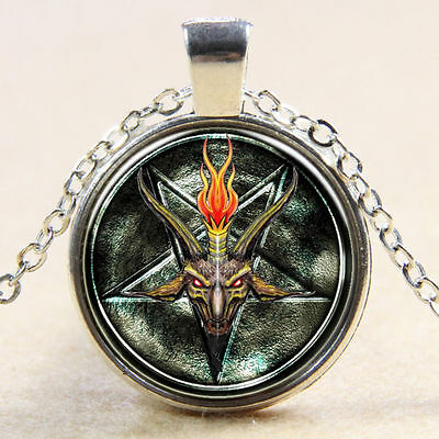 PENTAGRAM goat satan GOTH Witch Star Glass Necklace Silver Gothic Magic Symbol