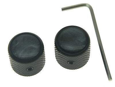 2x Black Tele Telecaster Black Pearl Top Guitar Dome Knobs Set Screw Bass Knob