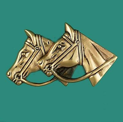Two Horses Heads Vintage Gold Pin Brooch - For Horse Rider Racing Equestrian