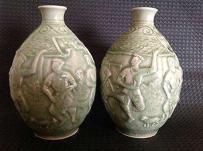 Celadon Siam Hand Made Pottery Pair Of Vases, Men, Music, Dance - Vintage 1978+